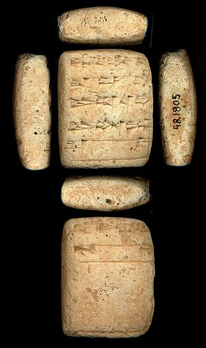 Ab (cuneiform) - Mesopotamian tablet for Sin-Kashid. Line 3, second character, ab. (Note that the second pair of horizontals angle up, and down, to the large vertical stroke anchoring the right of the 'ab' sign.)