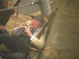 Dad's Army - Michael Gambon as Private Godfrey on the set of Dad's Army in October 2014. Filming took place on the beach at North Landing, Flamborough Head, Yorkshire and at nearby Bridlington.
