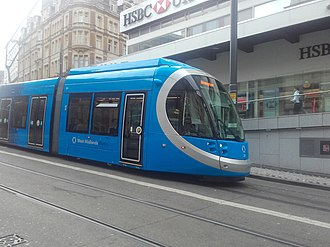 West Midlands Metro - Urbos 3 tram approaching Grand Central tram stop