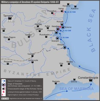 Amadeus III of Geneva - Image: Military campaign of Amadeus VI against Bulgaria (1366 67)