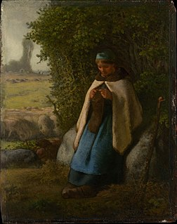 <i>Shepherdess Seated on a Rock</i> Painting by Jean-François Millet
