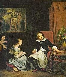Milton diktiert seinen Töchtern das Paradise Lost, Gemälde von Eugène Ferdinand Victor Delacroix (um 1826) (Quelle: Wikimedia)