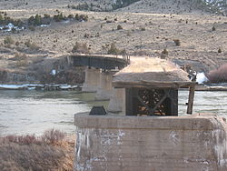 Abandoned Milwaukee Road bridge over the Missouri River at Lombard, Montana