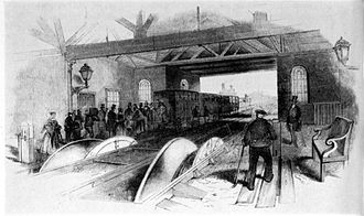 Cable car (railway) - Winding drums on the London and Blackwall cable-operated railway, 1840