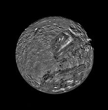 Miranda as seen from Voyager 2