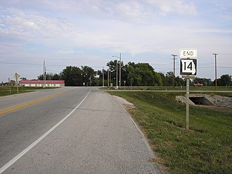 Missouri Route 14 - Western terminus of Route 14 in Marionville.