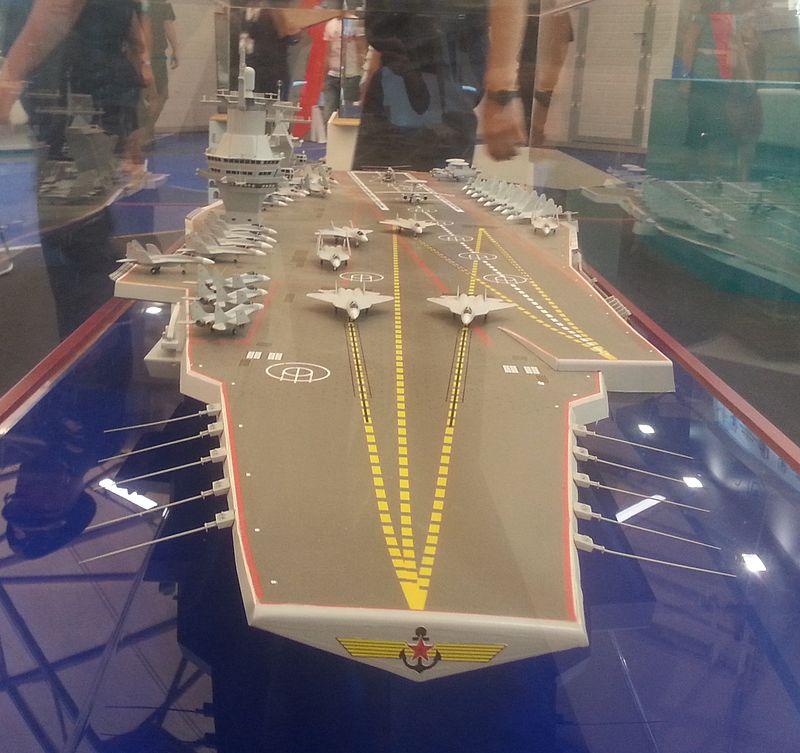 """حاملة الطائرات الروسيه النوويه المستقبليه  Shtorm """"  Project 23000E """" 800px-Model_aircraft_carrier_project_23000E_at_the_%C2%ABArmy_2015%C2%BB_2"""