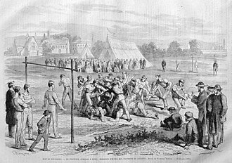 "Rugby football - Depiction of a ""football"" game in London. Illustration by Godefroy Durand"