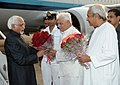 Mohd. Hamid Ansari being received by the Governor of Orissa, Shri M.C. Bhandare and the Chief Minister of Orissa, Shri Naveen Patnaik, on his arrival at Biju Patnaik Airport, Bhubaneswar in Orissa on March 01, 2012.jpg
