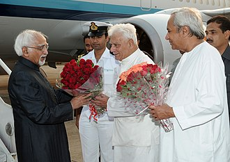 Mohammad Hamid Ansari - Vice  President Ansari along with former Governer of Odisha Murlidhar Chandrakant Bhandare and Chief Minister of Odisha Naveen Patnaik