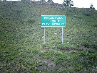 Molas Pass - Image: Molas Pass sign