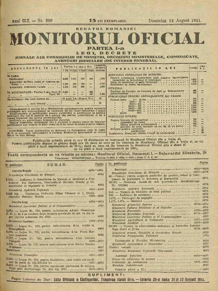 File:Monitorul Oficial al României. Partea 1 1941-08-24, nr. 200.pdf