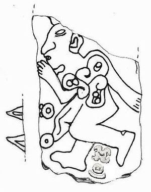 Mesoamerican writing systems - Monument 3 at San Jose Mogote.  The two shaded glyphs between his legs are likely his name, Earthquake 1.