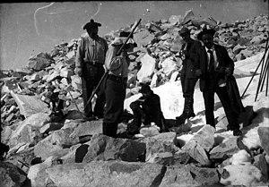 Henri Béraldi - Henri Béraldi with his son and others during an ascent of Aneto, the highest mountain in the Pyrenees, ca. 1900.
