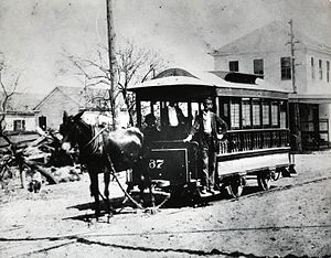 HouTran - A mule-drawn streetcar operated by the Houston City Street Railway Company in the late 1870s.