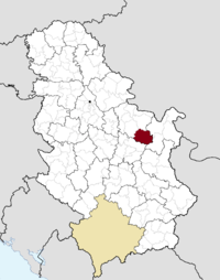 Location of the municipality of Žagubica within Serbia