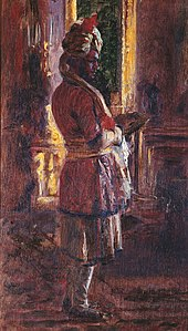 impressionistic painting of the Munshi, standing and turned to show his right profile