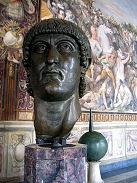 Contemporary bronze head of Constantine I.