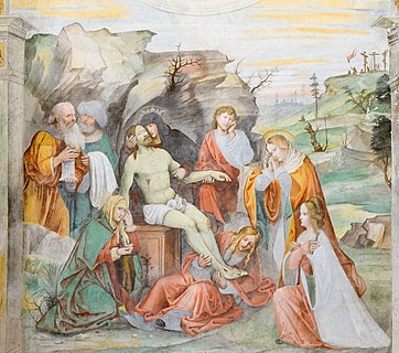 Fresco of Deposition by Paolo Caylina the Younger in the Museo di Santa Giulia in Brescia.