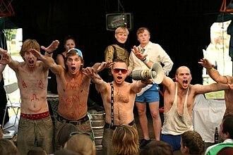 """Drama school - Czech drama students performing """"Mužské záležitosti""""."""