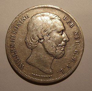 Coins of the Dutch guilder - Image: NETHERLANDS, WILLEM III 1852 2 1,2 GUILDERS b