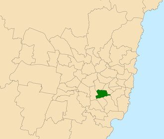 Electoral district of Canterbury - Location within Sydney