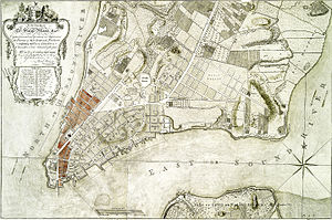Great Fire of New York (1776) - This 1776 map has contemporary markings in red depicting the area damaged by the fire