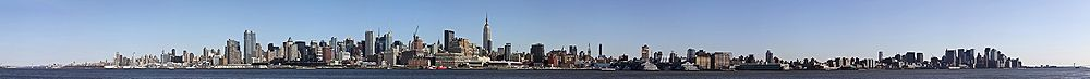 Panorama of the Manhattan skyline as seen looking eastward from Hoboken, New Jersey.