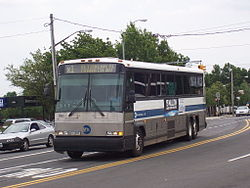 An X1 bus approaching the Eltingville Transit Center