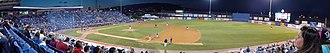 Binghamton Rumble Ponies - Panoramic view of the Binghamton Mets on the field at NYSEG Stadium