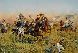 Battle of Nachod - Cavalry clash at the Battle of Nachod by Richard Knötel