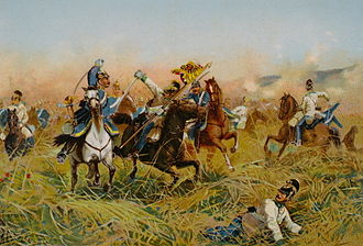 Battle of Nachod - Cavalry clash at the Battle of Nachod by Richard Knötel