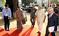 Narendra Modi arrives at the Global Exhibition on Services, at Pragati Maidan, in New Delhi. The Minister of State for Commerce & Industry (Independent Charge), Smt. Nirmala Sitharaman and the Commerce Secretary.jpg