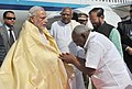 Narendra Modi being welcomed by the Governor of Tamil Nadu, Dr. K. Rosaiah, the Minister of State for Environment, Forest and Climate Change (Independent Charge).jpg