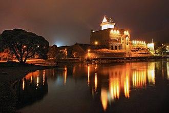 Hermann Castle - Night view of Narva Castle