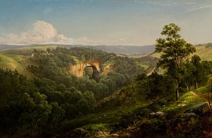 Natural Bridge (Virginia) - Natural Bridge, Virginia, oil on canvas, David Johnson, 1860. Reynolda House