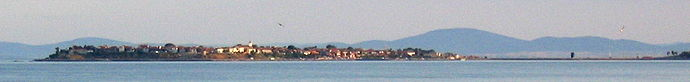 A panoramic view of the ancient part of Nesebar, seen from across the bay into which the city's peninsula protrudes