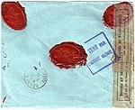Netherlands 1915-10-26 censored cover Leiden-Rennes reverse.jpg