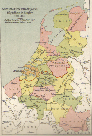 Deux-Nèthes - The north-western departments of the empire in 1812.  The formerly Dutch portion of Deux-Nèthes, annexed to the empire only in 1810, is coloured orange on this map.