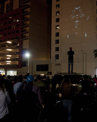 "Yeezus - A video projection of ""New Slaves"" in Los Angeles in May 2013."