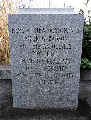 Gravity Research Foundation - Monument to Babson in center of New Boston, N.H.