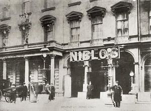 SoHo, Manhattan - Niblo's Garden, seen here around 1887, was an entertainment venue on Broadway near Prince Street from 1823 to 1895.