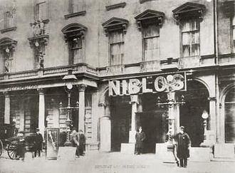 SoHo, Manhattan - Niblo's Garden, seen here around 1887, was an entertainment venue on Broadway near Prince Street from 1823 to 1895