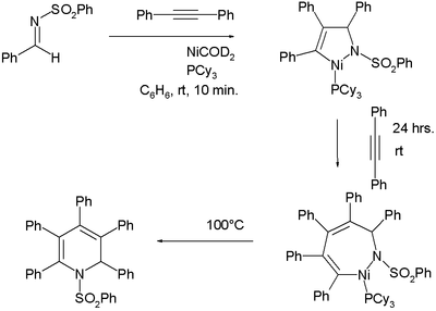 Reaction of N-(benzenesulfonyl)benzaldimine with two equivalents of diphenylacetylene