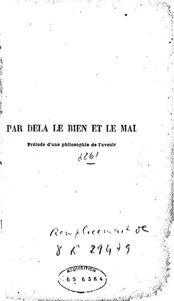 File:Nietzsche - Par delà le bien et le mal.djvu