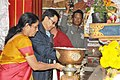Nirmala Sitharaman and the Minister of State for Home Affairs, Shri Kiren Rijiju lighting the lamp during their visit to the Tawang Monastery, in Tawang, Arunachal Pradesh.jpg