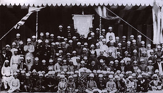 Nizam College - Photo of staff and students of Nizam college in the year 1890