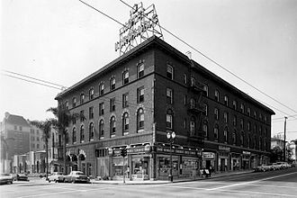 Hotel Normandie - Hotel Normandie in the 1940s, Looking SW at the intersection of 6th and Normandie.