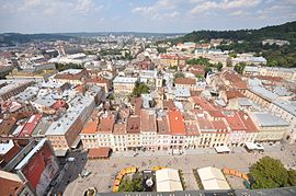 Northern side of the Market Square Lviv Ukraine.JPG