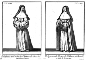 Order of Our Lady of Charity - The traditional religious habit of the Sisters from the Order of Our Lady of Charity was white, with a white scapular, a black veil and a large silver heart on the breast. That habit has been discarded.